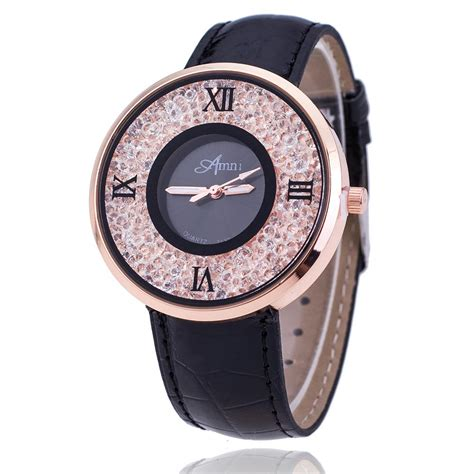 fashion rhinestone watches luxury brand leather