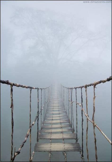 rope swing bridge rope bridge concealed by the fog in vietnam outdoors
