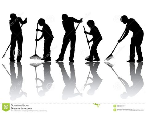 House Plans Free Download Man Sweeping Leaves Royalty Free Stock Photography Image