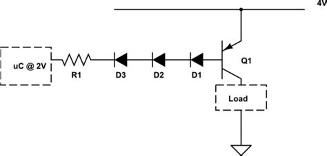 pnp transistor voltage drop mosfet controlling higher voltage and load via high side switch from a microcontroller