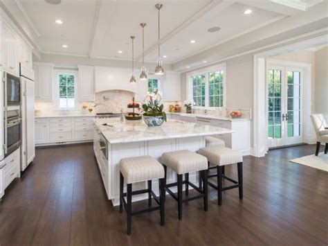 large island kitchens wonderful large square kitchen all white kitchen 3 stools big square center island