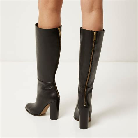 black knee high heels lyst river island black leather knee high heeled boots
