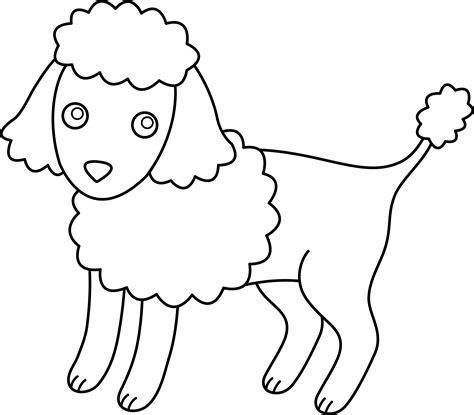 cute colorable poodle free clip art