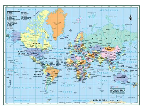 World Map Splendid Political Wall - world wall map political poster 32 quot x24 quot large print