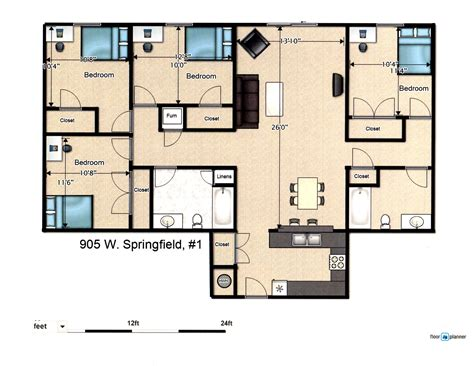 4 floor apartment plan 4 bedroom apartment 905 w springfield ave urbana il