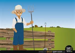 farmer pitchfork on his farm free vector