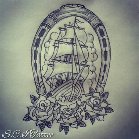 ship and rose tattoo traditional ship horseshoe roses sketch by