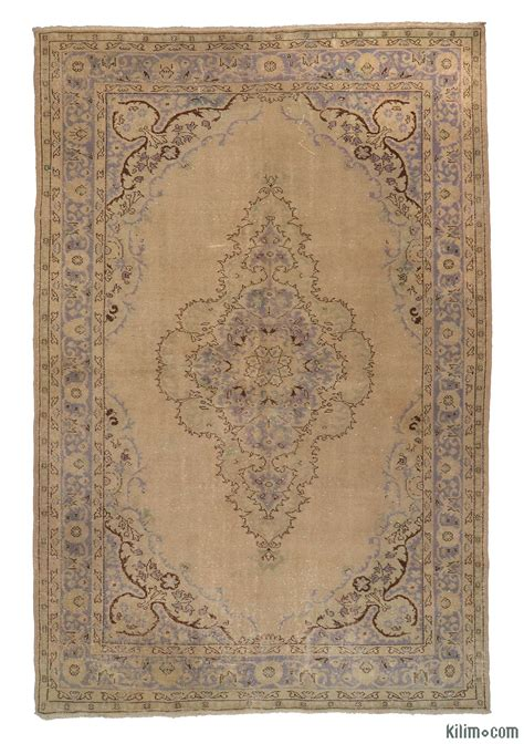 K0005558 Beige Purple Over Dyed Turkish Vintage Rug Dyed Rugs