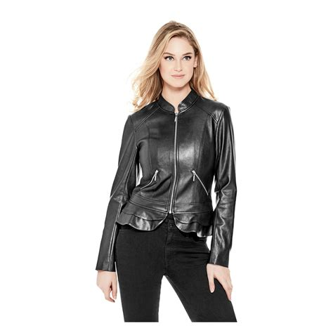 Guess Sprint Black Leather lyst guess kate flirty faux leather jacket in black