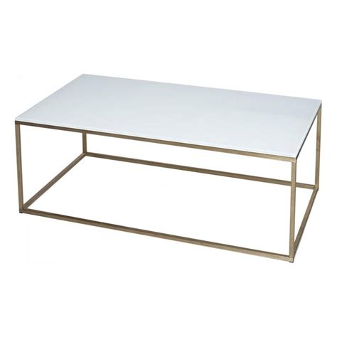 white glass coffee tables buy white glass and metal rectangular coffee table from fusion living
