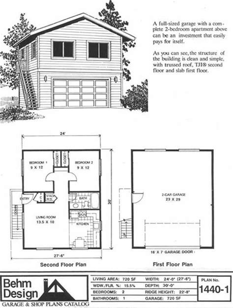 2 Story Apartment Plans by 2 Car Garage With Second Story Apartment Plan No 1440 1