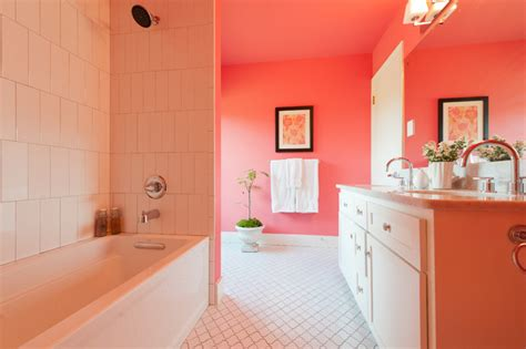Modern Pink Tile Bathroom Pink Bathroom Modern Bathroom By Schroeder