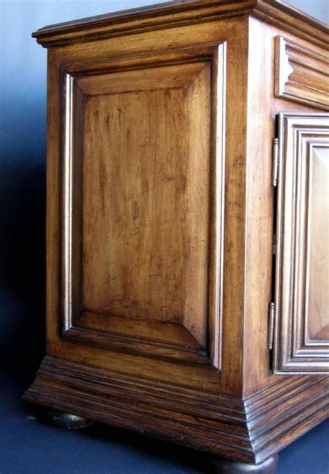 custom walnut wood bun foot cabinet with doors and drawers