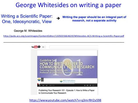 george whitesides how to write a paper analyzing peer review