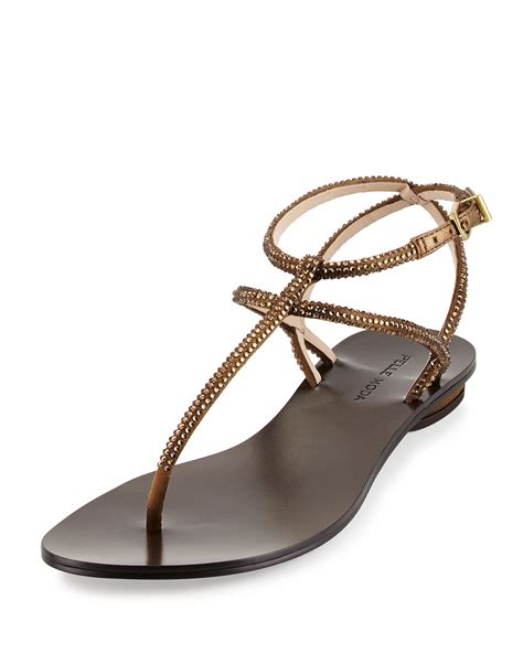 moda shoes pelle moda ellie strappy embellished sandal in metallic lyst