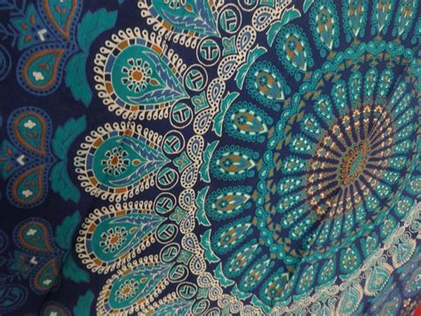 blue pattern tapestry indian mandala tapestry hippie wall hanging blue bohemian