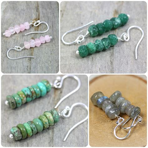 Handmade Gemstone Jewelry Designs - gemstone stacked earrings in quartz emerald green