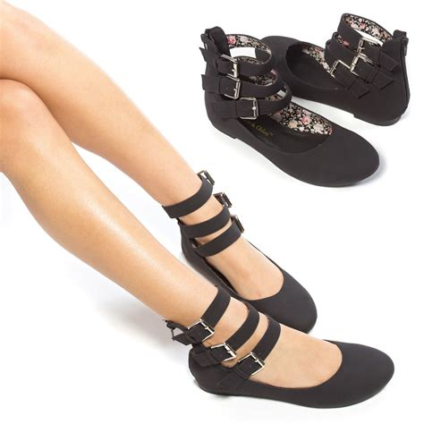 flat shoe with ankle black toe ankle cuff