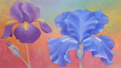 watercolor tutorial iris iris flower acrylic painting instruction how to paint