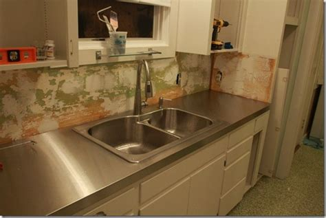 Kitchen Copper Backsplash by Remodelaholic Affordable Stainless Steel Countertops Diy