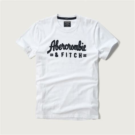 abercrombie fitch applique logo graphic in white for lyst