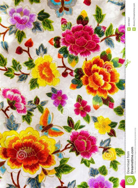 silk embroidery flowers stock image image  special