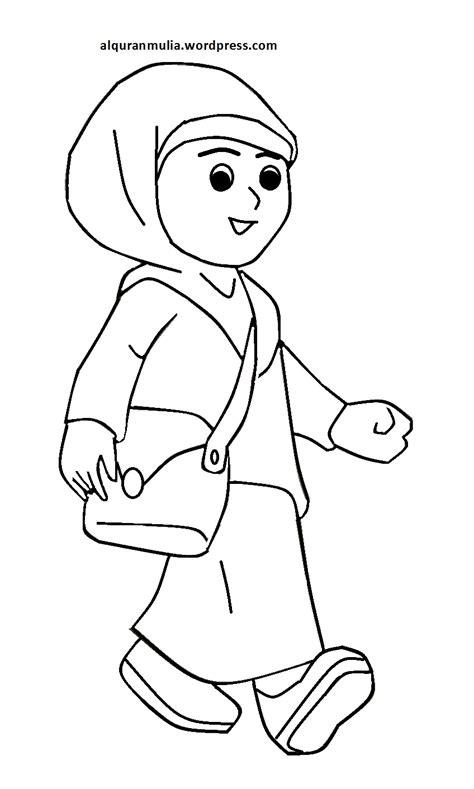kartun lelaki gambar ana muslim hitam putih sketch