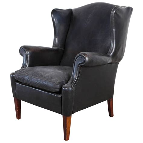 Wing Back Chair by Black Leather Curved Arm Wing Back Club Chair At 1stdibs