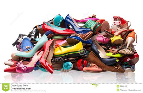 lade a pile pile of various shoes white royalty free stock