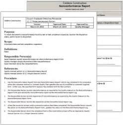 Non Conformance Report Form Template standard operating procedures for nonconformances