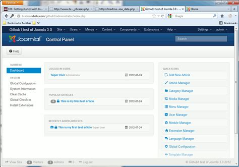 video tutorial joomla 3 0 how to log into the joomla 3 1 administrator dashboard