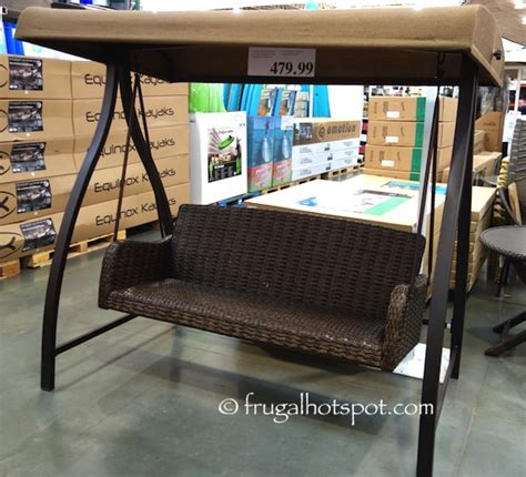 patio swing costco costco agio international 3 person woven patio swing 479 99 frugal hotspot