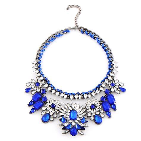 Blue Choker 2014 fashion necklace shourouk chain chunky statement necklace pendant wholesale jewelry blue