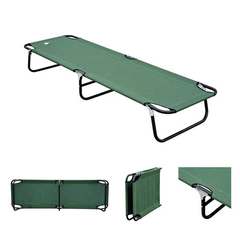 Folding Cot Bed Outdoor Portable Army Folding Cing Bed Cot Cing Hiking Green Ebay