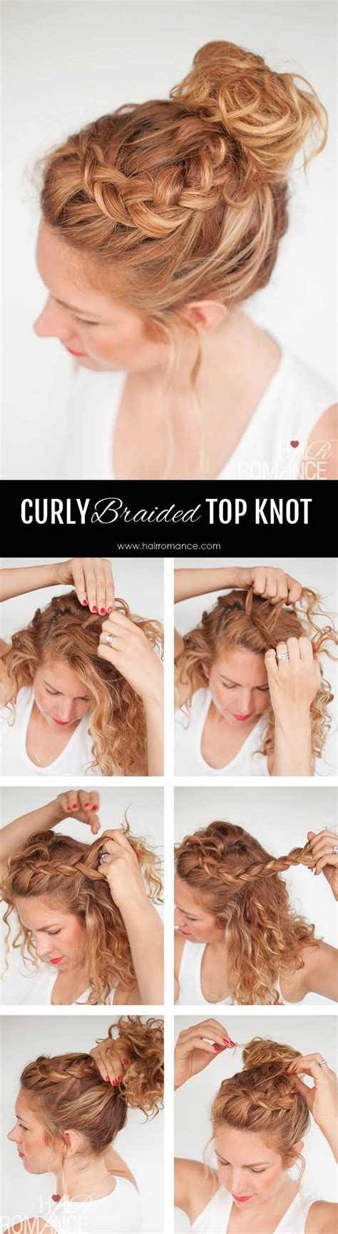 Curly Braided Hairstyles by Curly Braided Top Knot Hairstyle Pictures Photos And
