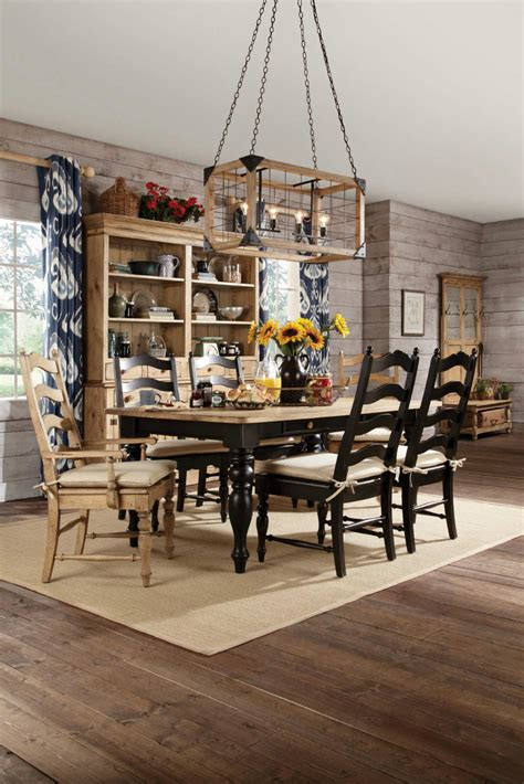 Kitchen Arm Chair Design Ideas Homecoming Solid Wood Farmhouse Leg Dining Table Set In Vintage Pine Black With Chairs