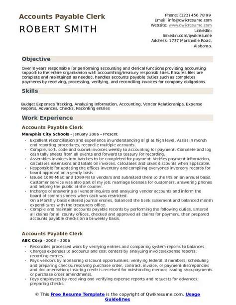Accounts Payable Resume Pdf accounts payable clerk resume sles qwikresume