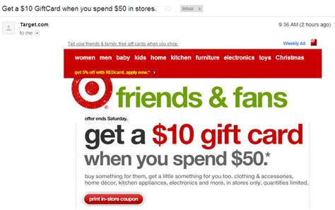 Free Gift Cards By Email - target check your email for free 10 target gift card coupon when you spend 50 at