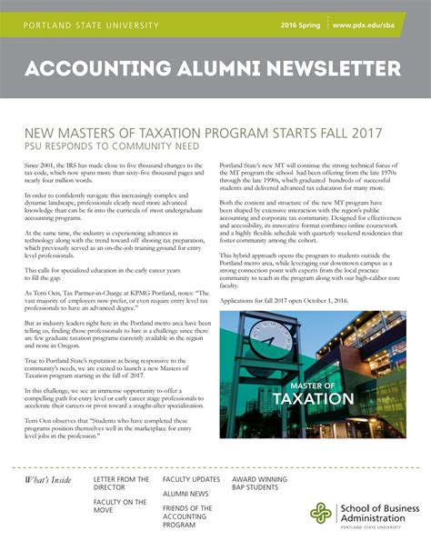Mba Office Accounting Isu by 2016 Accounting Newsletter By Portland State