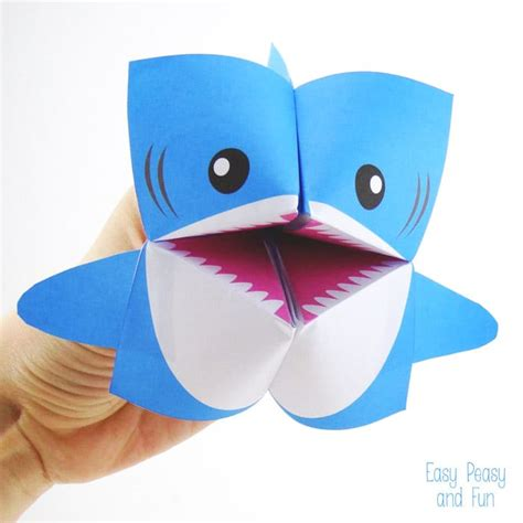 baby shark origami shark cootie catcher origami for kids easy peasy and fun