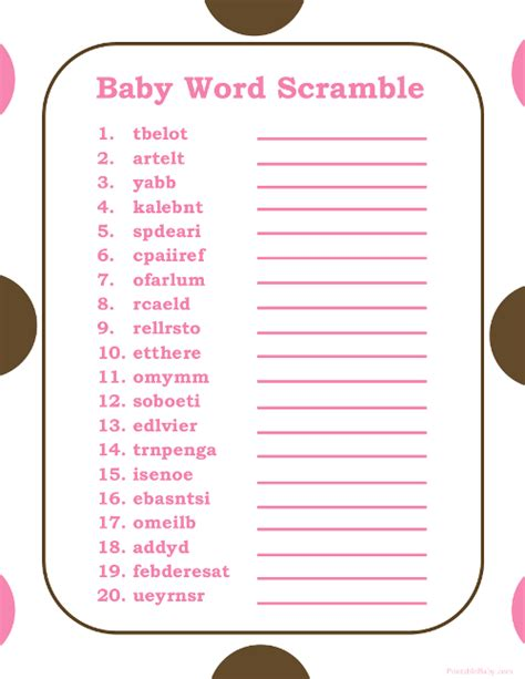 baby shower scramble with answers 6 best images of free printable baby word scramble with