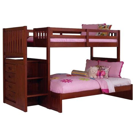 Orville Twin Over Full Staircase Bunk Bed Chest Merlot Merlot Bunk Bed