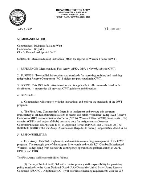 Official Usaf Letterhead Best Photos Of Army Letter Template Letter Of Recommendation Memorandum Army Army