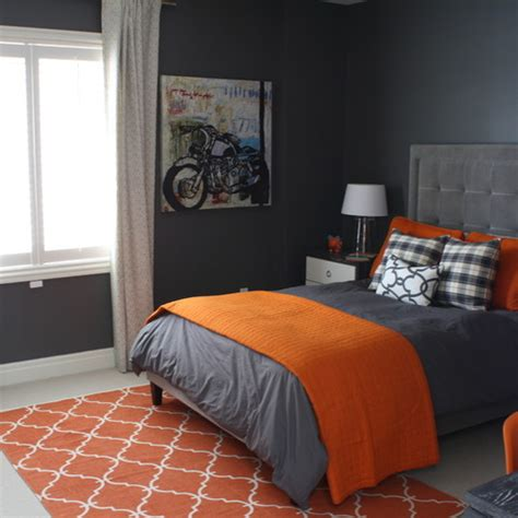 gray painted rooms stylish orange and dark gray bedding to cover gray painted