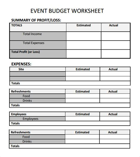 Budget Forms Templates by Sle Event Budget Template 6 Free Documents