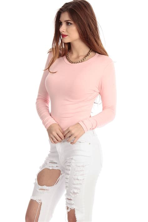 light pink sleeve top light pink asymmetrical sleeve crop top cicihot top