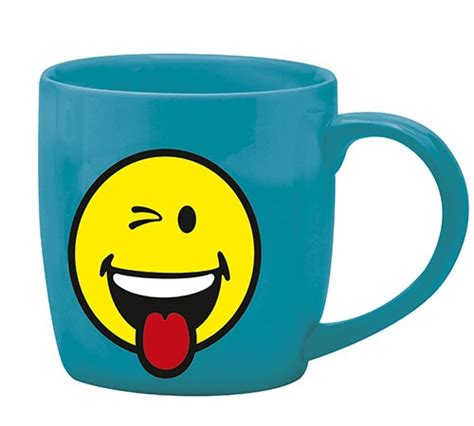 mug zak design mug smiley bleu malicieux en porcelaine 35cl zak design