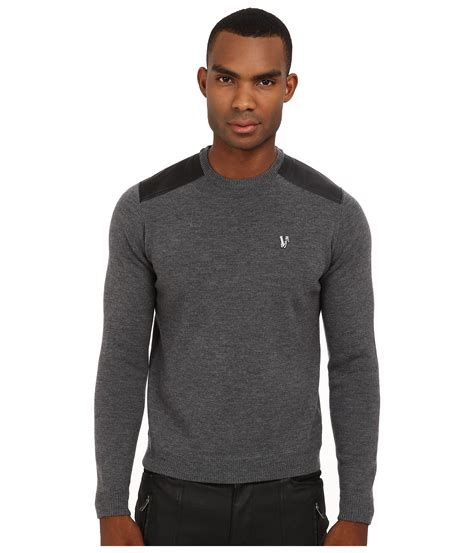 Decorative Panel Sweater White Grey 1 versace leather panel crewneck sweater in gray for lyst