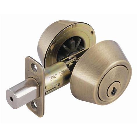 design house deadbolt design house double cylinder antique brass deadbolt 755314