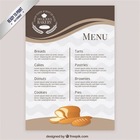 menu card template powerpoint menu template bakery vector free